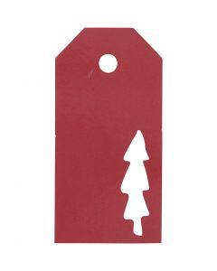 Eiquetas regalo, Árbol de navidad, medidas 5x10 cm, 300 gr, rojo, 15 ud/ 1 paquete