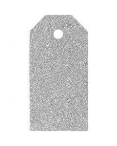 Etiquetas regalo, medidas 5x10 cm, purpurina, 300 gr, plata, 15 ud/ 1 paquete