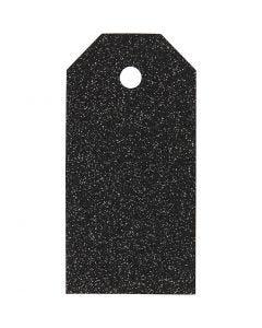 Etiquetas regalo, medidas 5x10 cm, purpurina, 300 gr, negro, 15 ud/ 1 paquete