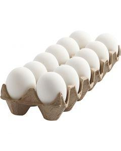 Huevo, A: 6 cm, blanco, 12 ud/ 1 paquete