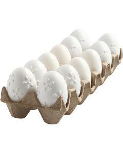 Huevo, patrón, A: 6 cm, blanco, 12 ud/ 1 paquete