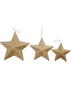 Estrellas, dia: 7,5+10+12,5 cm, 6 ud/ 1 paquete