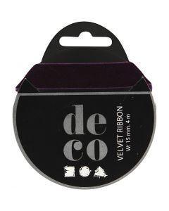 Cinta de terciopelo, A: 15 mm, violeta oscuro, 4 m/ 1 rollo