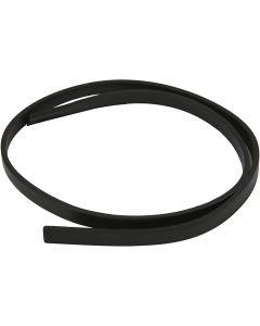 Cinturón de cuero, A: 10 mm, grosor 3 mm, negro, 1 m/ 1 paquete