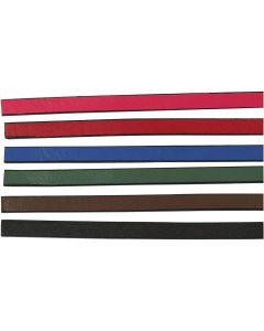 Cinturón de cuero, A: 10 mm, grosor 3 mm, surtido de colores, 6x1 m/ 1 paquete