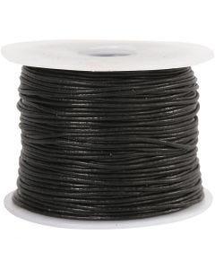 Cordón de cuero, grosor 1 mm, negro, 50 m/ 1 rollo