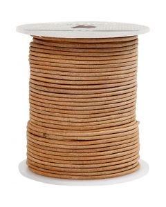 Cordón de cuero, grosor 2 mm, natural, 50 m/ 1 rollo