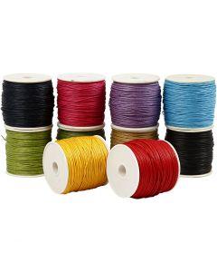 Cuerda de algodón, grosor 1 mm, colores fuertes, 10x50 m/ 1 paquete