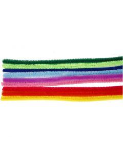 Limpiador de tubo, L. 30 cm, grosor 9 mm, surtido de colores, 25 stdas/ 1 paquete