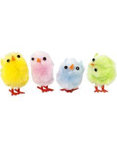 Pollos de pascua, A: 30 mm, colores pastel, 12 ud/ 1 paquete