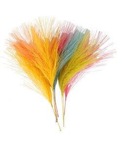 Plumas artificiales, L. 15 cm, A: 8 cm, surtido de colores, 10 ud/ 1 paquete