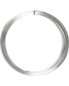 Alambre de aluminio, redondo, grosor 1 mm, plata, 16 m/ 1 rollo