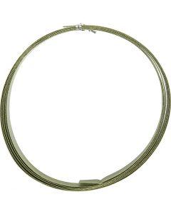 Alambre de aluminio, plano, A: 15 mm, grosor 0,5 mm, verde, 2 m/ 1 rollo
