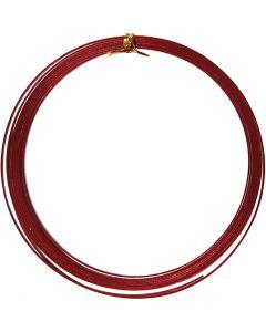 Alambre de aluminio, plano, A: 3,5 mm, grosor 0,5 mm, rojo, 4,5 m/ 1 rollo