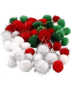 Pompones, dia: 15+20 mm, verde, rojo, blanco, 48 stdas/ 1 paquete