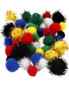 Pompones, dia: 15+20 mm, surtido de colores, 48 stdas/ 1 paquete
