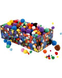 Pompones, dia: 5-40 mm, surtido de colores, 220 gr/ 1 paquete