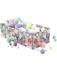 Pompones, dia: 15-40 mm, purpurina, colores pastel, 400 gr/ 1 paquete
