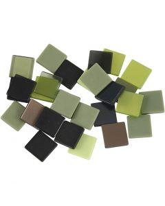 Mini mosaico , medidas 10x10 mm, verde purpurina, 25 gr/ 1 paquete