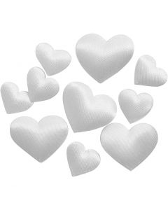 Corazón de satén, medidas 10+20 mm, blanco, 70 ud/ 1 paquete