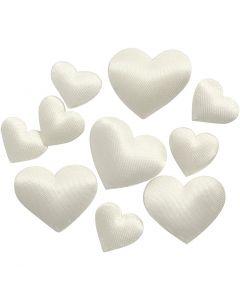 Corazón de satén, medidas 10+20 mm, blanquecino, 70 ud/ 1 paquete