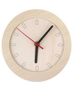 Reloj con marco madera, dia: 15 cm, 1 ud