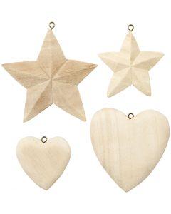 Corazones y estrellas, 4 ud/ 1 paquete