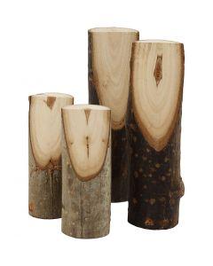 Rama de árbol decorativa cortada en un ángulo, A: 8+12 cm, dia: 2,5-3,5 cm, 4 ud/ 1 paquete