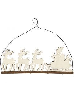 Decoración de Navidad, Trineo con renos, A: 8 cm, profundidad 0,5 cm, A: 22 cm, 1 ud