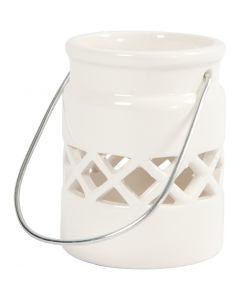 Farolillo, A: 8 cm, dia: 6,2 cm, blanco, 6 ud/ 1 caja