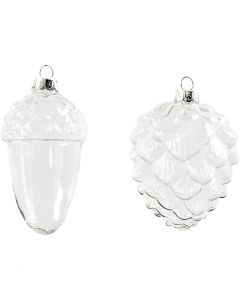 Decoraciones de cristal, A: 9,5+10,5 cm, dia: 5,5+7,5 cm, transparente, 4 ud/ 1 paquete