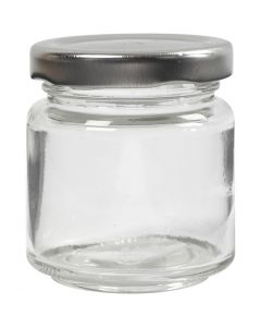 Bote de cristal, A: 6,5 cm, dia: 5,7 cm, 100 ml, transparente, 12 ud/ 1 caja