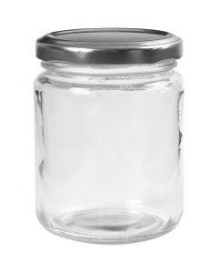 Bote de cristal, A: 9,1 cm, dia: 6,8 cm, 240 ml, transparente, 12 ud/ 1 caja