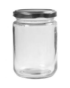 Bote de cristal, A: 11 cm, dia: 7,5 cm, 370 ml, transparente, 6 ud/ 1 caja