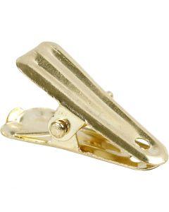 Pinzas decorativas, L. 27 mm, A: 14 mm, dorado, 10 ud/ 1 paquete