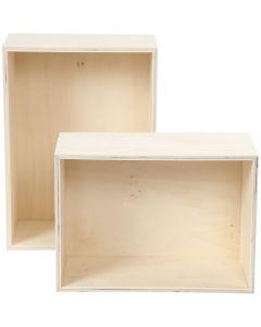 Cajas de almacenamiento, A: 27+31 cm, profundidad 12,5 cm, A: 19,5+22,5 cm, 2 ud/ 1 set