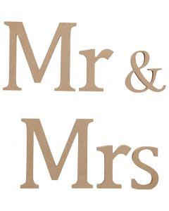 Letras, MRS&MR, A: 13 cm, profundidad 1,5 cm, 1 set