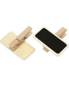Pinza de ropa con mini pizarra, medidas 4x2 cm, 12 ud/ 1 paquete
