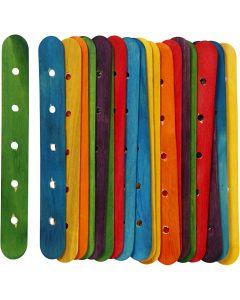 Palos con agujeros, L. 15 cm, A: 1,8 cm, medida agujero 4 mm, surtido de colores, 20 stdas/ 1 paquete
