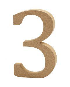 Número , 3, A: 8 cm, grosor 1,5 cm, 1 ud