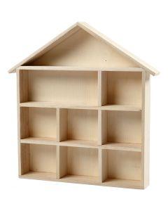 Estanteria en forma de casa, A: 3,5 cm, medidas 26x25,2 cm, 1 ud