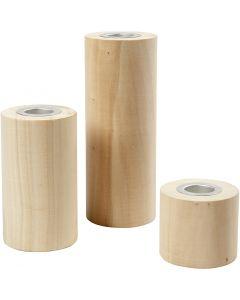 Porta velas, A: 14,5+9+6,5 cm, medida agujero 2,3 cm, 3 ud/ 1 paquete