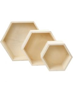 Cajas para almacenaje, A: 14,8+19+24,2 cm, profundidad 10 cm, 3 ud/ 1 set