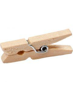 Mini pinza de madera, L. 30 mm, A: 3 mm, 30 ud/ 1 paquete