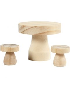 Mesa de madera con taburetes, medidas 2,5x2,5 cm, 1 set