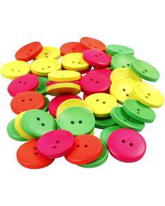 Botones de madera, dia: 25 mm, medida agujero 2 mm, 80 ud/ 1 paquete