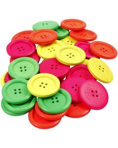 Botones de madera, dia: 35 mm, medida agujero 2 mm, 60 ud/ 1 paquete
