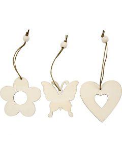 Ornamentos de madera, flor, mariposa, corazón, medidas 6 cm, 9 ud/ 1 paquete