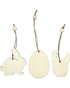 Ornamentos de madera, conejo, huevo, gallina, medidas 6 cm, grosor 3 mm, 9 ud/ 1 paquete