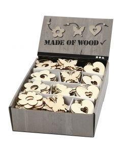 Ornamentos de madera, flor, mariposa, corazón, medidas 6 cm, grosor 3 mm, 200 ud/ 1 paquete